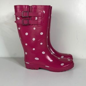 Pink and white polkadot rain boots size 7